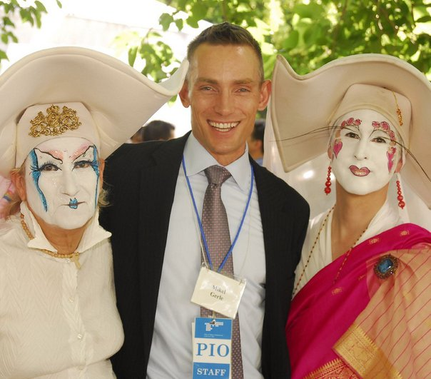 City of WeHo Special Events Coordinator Mike Gerle (center) and Sisters of Perpetual Indulgence Margrat Snatcher (left) and Unity Devine (right)in 2010 at a day celebrating marriages in the park after same sex marriage was leagalized