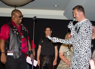 Spotted Emcee Alan Stroik Asks Great Plains Olympus Leather Contestant TC A Comical Question By Jeff Koast